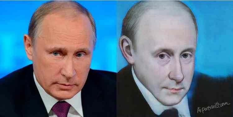Портрет Путина нарисованный Al portraits